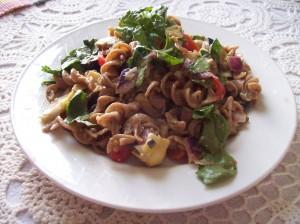 rye pasta with tomato spinach artichoke onion olive