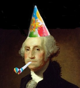George Washington in a party hat with a noise maker