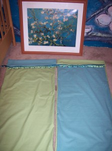 blue and green nursery curtains with trim