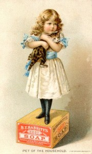 vintage print of little girl on soap box with kitten