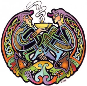 celtic man and woman profile over soup